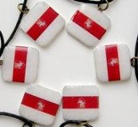 """Кулён handmade нацыянальны герб """"Пагоня"""" на тле беларускага сцяга"""
